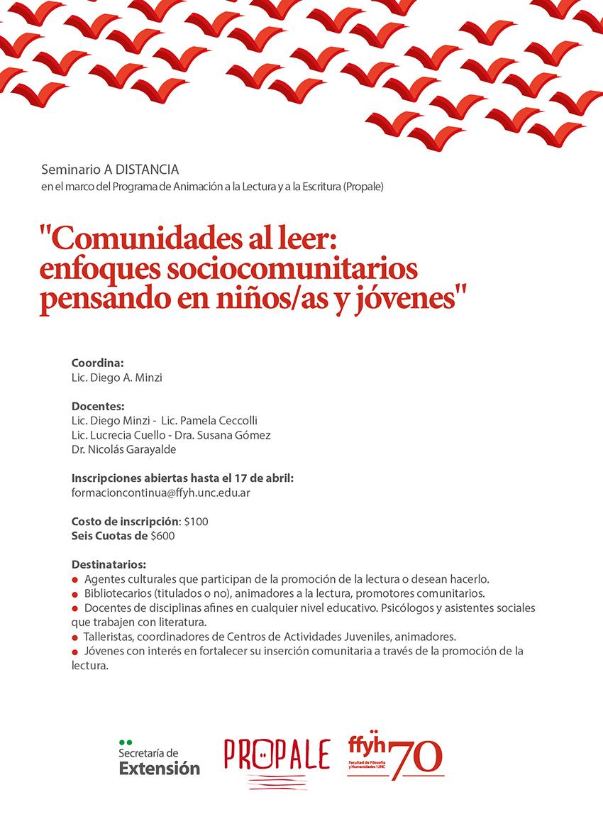 """Seminario A DISTANCIA """"Comunidades al leer: enfoques ..."""