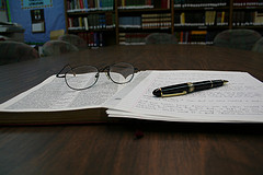 Bible, Reading Glasses, Notes and Pen