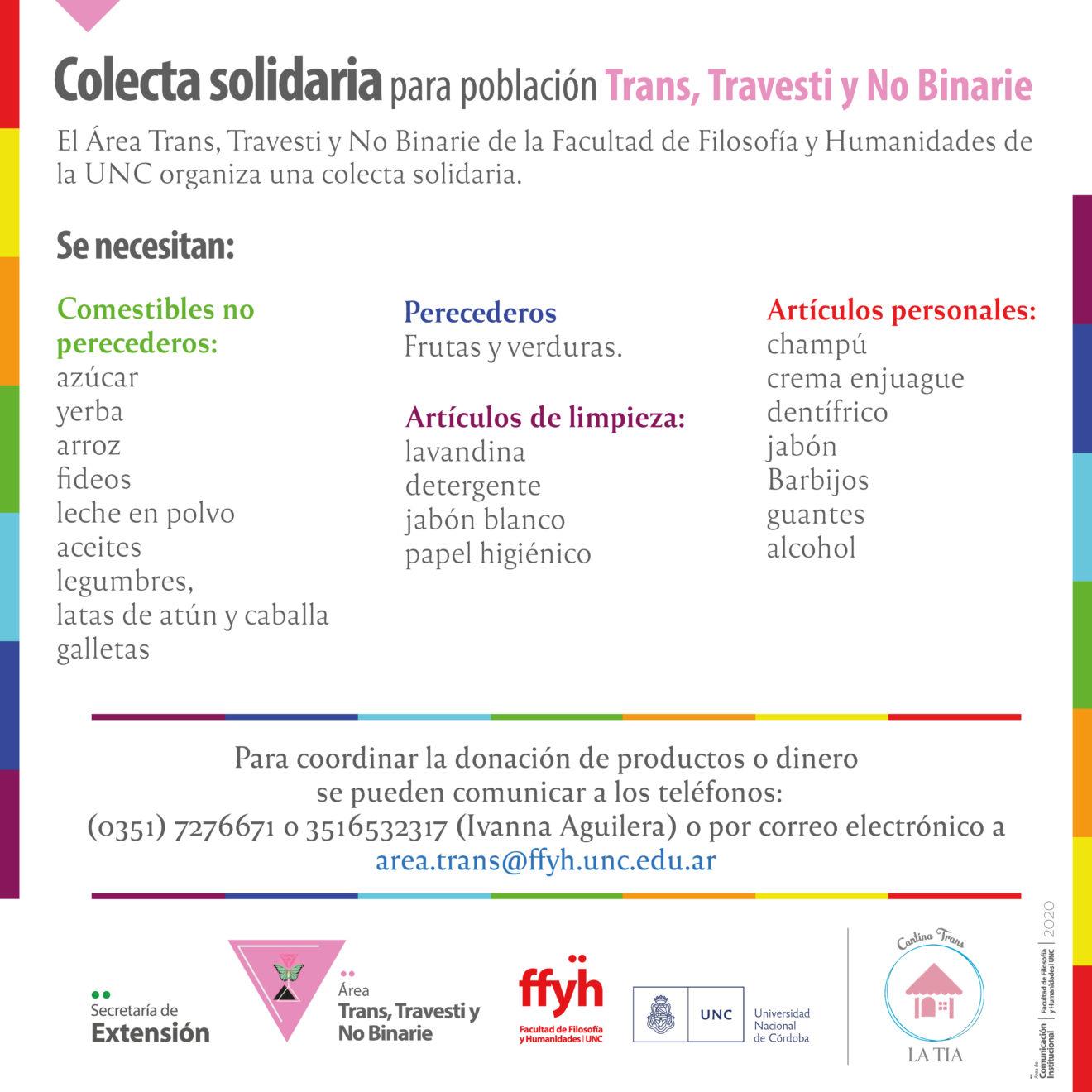 Colecta solidaria para población trans, travesti y no binarie