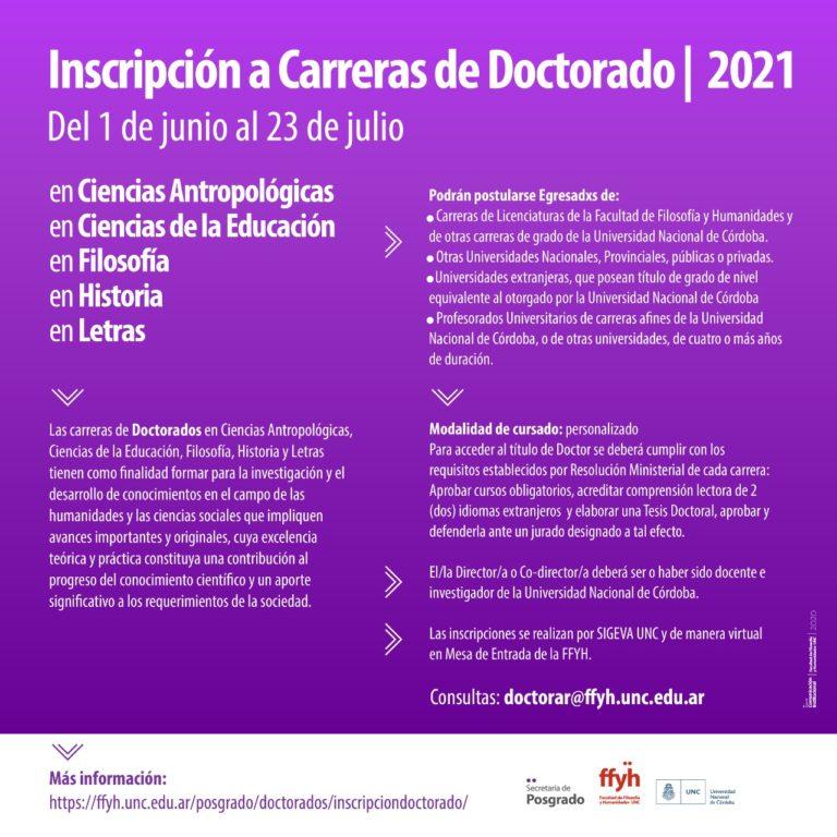 Convocatoria anual   Inscripción a carreras de Doctorado 2021
