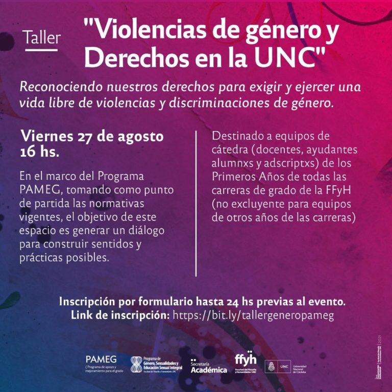"""Taller """"Violencias de género y Derechos en la UNC"""""""