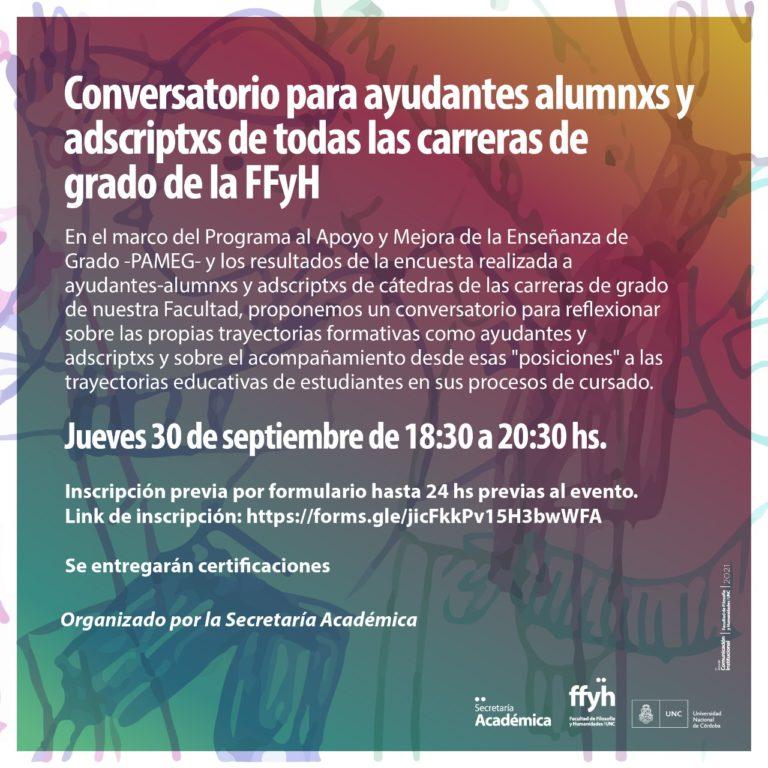 Conversatorio para ayudantes-alumnxs y adscriptxs